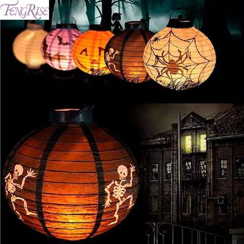 FENGRISE LED Paper Lantern Horror Light Lamp Halloween Party Decoration Metal Halloween Pumpkin Ghost Spider Hanging Lantern