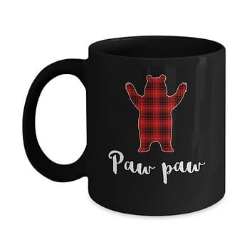 Red Paw Paw Bear Buffalo Plaid Family Christmas Pajamas Mug