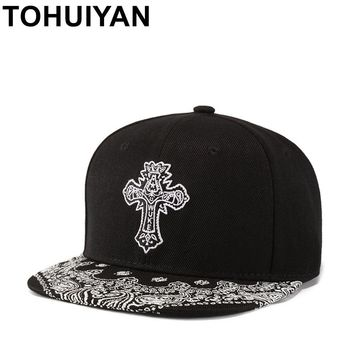 Trendy Winter Jacket New Floral Gothic Cross Embroidered Snapback Cap Hip Hop Flat Visor Baseball Hat Summer Autumn Street Dance Gorras Strapback Cap AT_92_12