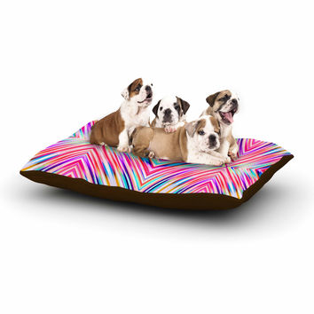 "Dawid Roc ""Pink Modern Tribal Ethnic Ikat"" Teal Geometric Dog Bed"