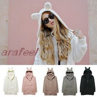 Bear Ear zip hood Parka blazer coat JACKET lamb top bomber CARDIGAN KNIT Fur hat