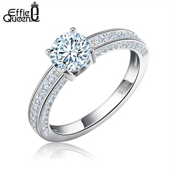 Effie Queen Women Wedding Band Ring Love Engagement Rings with Luxury CZ Zircon Fashion Jewelry DR120