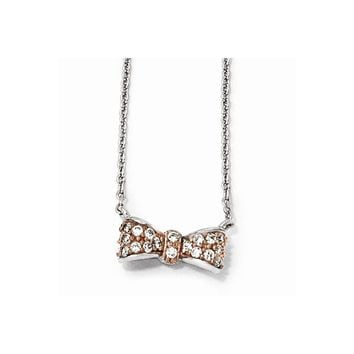 Sterling Silver Rose Gold-Plated & CZ Bow Necklace