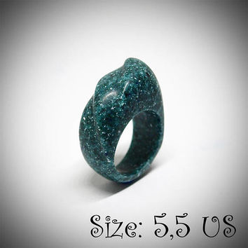 Size 5,5 US, Green ring, Green jewelry, Women ring, Statement ring, Malachite ring, Corian ring, Green stone ring, Engagement ring