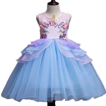 Girls Dress 2018 New Unicorn Embroidery Flower Beading Gauzze Princess Dresses For Girls Children Clothes Baby Party Dress 2-10Y