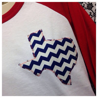 Bling 3/4 Sleeve Chevron Texas Shirt