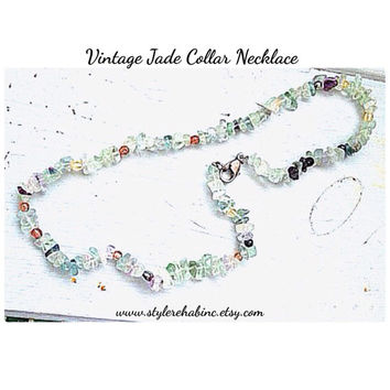 Vintage Jade Chip collar Style Necklace.  Short.  Close to neck.  Made from chips and beads.