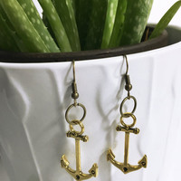 Antique gold nautical earrings. Anchor pendant. Handmade jewelry. Lightweight earrings. Steampunk jewelry Deep sea ocean charm Gift for wife