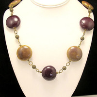 Chunky Burgundy and Gold Porcelaine Bead Necklace