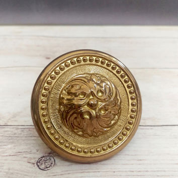Antique Door Knob/ Brass Door Knob/ Door Knob/ Beaded Knob/ Vintage Brass Door Knob/ Brass Doorknob/ Front Door Decor