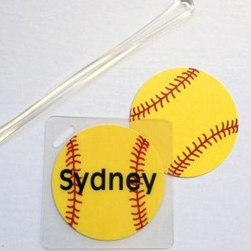 ONETOW Softball Bag Tag Softball Mom Gift Softball Coach Gift Softball Team Gift Softball Par