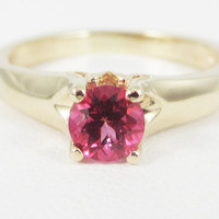 Pink Topaz 14k Yellow Gold Tulilp Solitaire Ring, Solid 14 Karat Gold Ring, Pink Topaz Solitaire Ring, 14k Gold PInk Topaz Ring