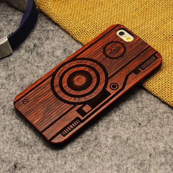 Camera Wood Case Retro Wooden New Cover Carving flower Patterns Wood Slice Plastic Edges Back Cover for Iphone 6 case iPhone 6 Plus