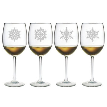 Paper Snowflakes Glasses - Set of 4