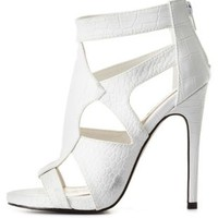 White Crocodile Cut-Out Caged Heels by Charlotte Russe