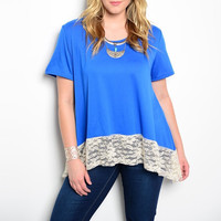 Plus Size Lace Hem Tee in Blue & White
