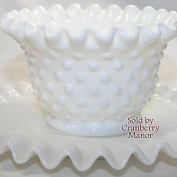 Vintage Fenton Hobnail Milk Glass Ruffled Mayonnaise and Under Plate PG199