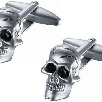 Goth Punk Rock Motorcycle Cool Cufflinks w/ Skull Faces and Black Crystal Eyes