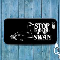 iPhone 4 4s 5 5s 5c 6 6s plus iPod 4th 5th 6th Gen Fun Cool Movie Quote Funny Phone Cover Stop Looking at Me Swan Black White Cute 90s Case