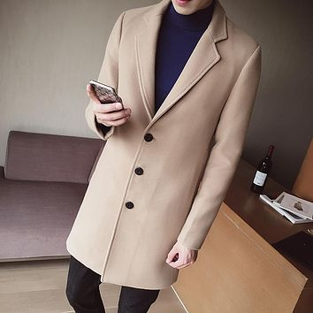 S-5XL Men's Solid Color Wool Coat England Middle Long Coats Jackets Slim Fit Male Homme Winter Overcoat Woolen Coat Korean