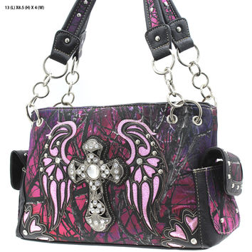 Purple Mossy Camo Wing and Cross Purse