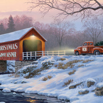Christmas Covered Bridge Personalized Print / Poster / Sign