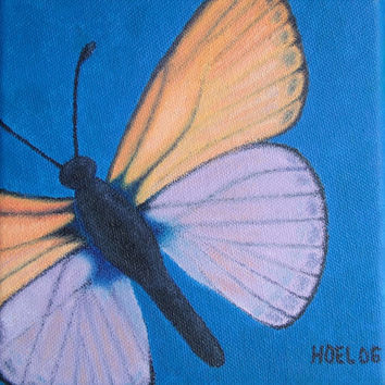 Marine Blue Butterfly - Professional Prints of Acrylic Paint Fine Art