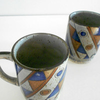 Grey Stoneware Blue Geometric Cups 1970s Made in Japan Set of Two