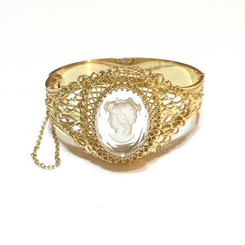 Whiting & Davis Cameo Bangle Bracelet, Clear Intaglio Cameo, Victorian Revival, Gold Filgree, Wedding Jewelry, 1950s, Vintage Jewelry