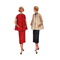 """1950s Simplicity 4560 Woman's Maternity Two-Piece Dress with Detachable Collar and Cuffs Size 12 
