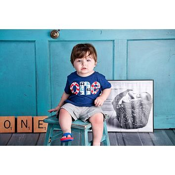 Fan Photo one lowercase with circus elephant birthday on triblend indigo for boys 1st Birthday Shirt with newborn photo
