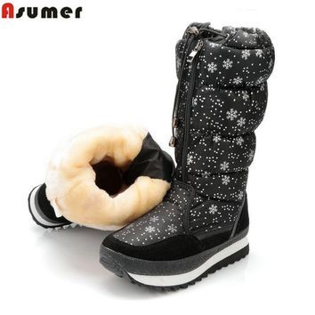 ASUMER Keep warm Snow boots women plush warm lady shoes mid calf boots cow suede leather winter boots female platform shoes
