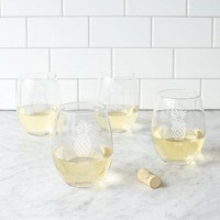 Personalized Pineapple Stemless Wine Glasses (Set of 4)
