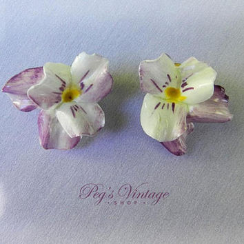 Vintage English Porcelain Flower Earrings Hand Painted White Purple Pansy Floral Clip On Earrings