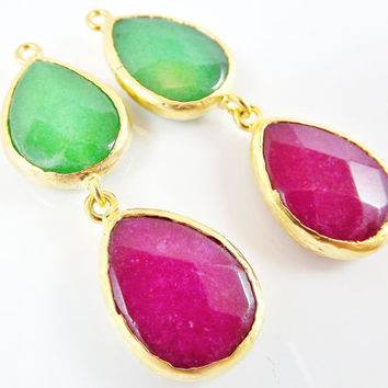Pair of Forest Green & Garnet Red Double Teardrop Jade Pendant  - 22k Matte Gold plated Bezel - 2pc