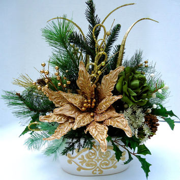 Christmas Floral Centerpiece, Poinsettia Centerpiece, Dining Table Centerpiece