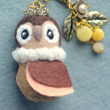 Needle felted owl bag charm, handmade whimsical owl, wool soft sculpture brown owl king doll, bird doll, handbag accessories, gift under 25