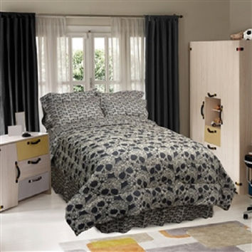 Twin size 3-Piece Comforter Set with Black Tan Flower Skulls Design
