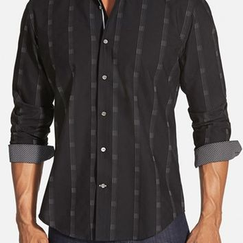 Men's Bugatchi Shaped Fit Stripe Sport Shirt