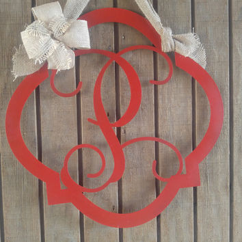Monogram Door hanger, Door Wreath, Wall Sign, Metal Letter, Nursery, Wedding Guest Book, Metal, Door Decor, Home Decor, gift idea, Door Sign