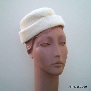 Vintage Elsa Schiaparelli White Angora Hat. Late 50s to 60 Cocktail Hat. Paris