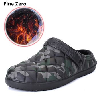Fine Zero Winter Warm Home Slippers Camouflage Lightweight home slides Men Indoor Floor Slippers big size 45 House Shoes