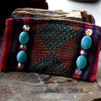 Tribal with turquoise Slab bag