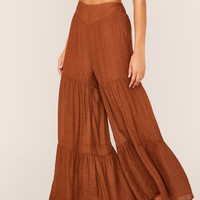 High Waist Layered Ruffle Hem Super Palazzo Pants