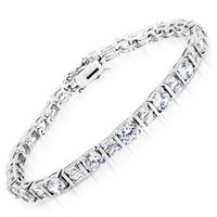 Classic C.Z. 4.5MM Diamond Sterling Silver Tennis Bracelets (Nice Holiday Gift, Special Sale)