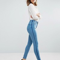 ASOS 'SCULPT ME' Premium Jeans in Dee Mid Blue Wash with Shadow Side Panel at asos.com
