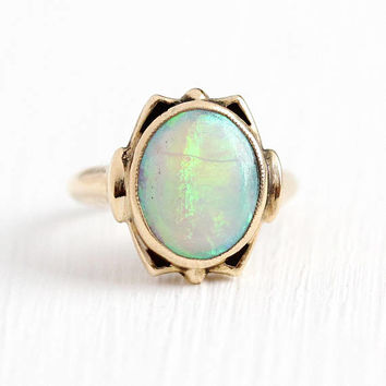 Vintage Opal Ring - 14k Rosy Yellow Gold Opal Gemstone - 1930s Size 1 1/4 Oval Cabochon October Birthstone Gem Petite Tiny Fine Jewelry