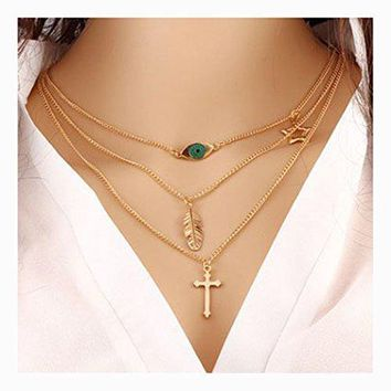 Necklace Evil Eye Cross Pendant Jewelry for Women