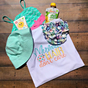 mermaid hair don't care, baby girl wet bag, mermaid bikini wet bag, mermaid baby shower gift, mermaid diaper bag, baby beach bag, wet dry