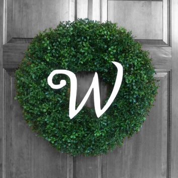 Custom Artificial Boxwood - Weatherproof Wreaths - Outdoor Wreath - Faux Boxwood - Monogram Wreath - Everyday Door Decoration Boxwood Wreath